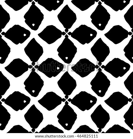 Vector Seamless Black And White Hand Drawn Rhombus Lines Grid Pattern Stock photo © CreatorsClub