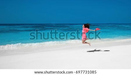 bela · mulher · beira-mar · anos · velho · praia · mulher - foto stock © victoria_andreas