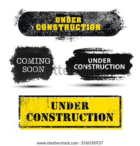 Stock fotó: Hamarosan · jön · építkezés · szöveg · grunge · tinta · színes
