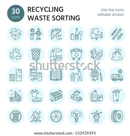 Modern vector line icon of waste sorting, recycling. Garbage collection. Recyclable waste - paper, g Stock photo © Nadiinko