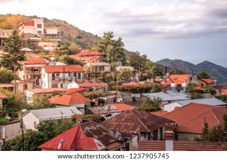 Famous picturesque mountain village of Pedoulas. Nicosia Distric Stock photo © Kirill_M