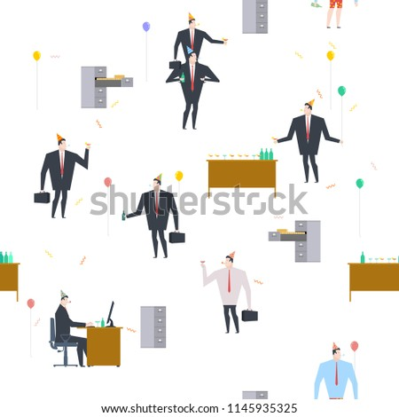 Office party pattern. Holiday at work. Businessman on feast. Cel Stock photo © MaryValery