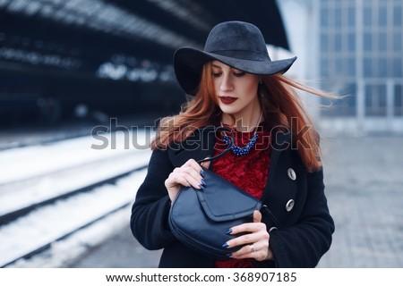 肖像 小さな 美人 革 ドレス 赤 ストックフォト © julenochek