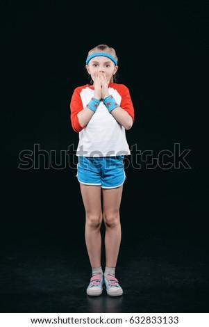 little · girl · criança · em · pé · isolado · imagem - foto stock © lightfieldstudios