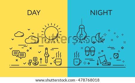 день ночь вектора Баннеры солнце Сток-фото © curiosity