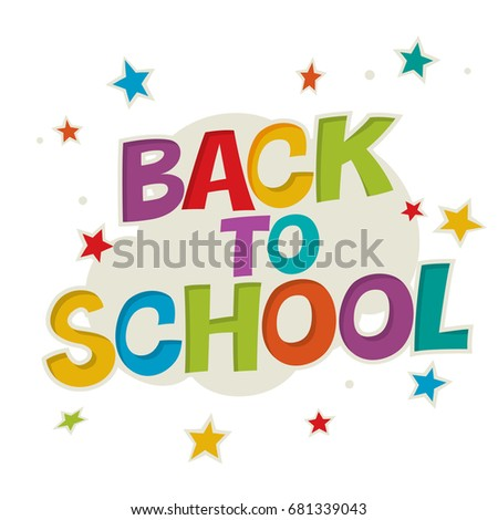 Back to school. Colorful poster with rays and stars. Comic alpha Stock photo © pashabo