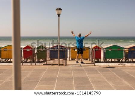 plaj · kulübe · ahşap · kulübe · su · manzara · kum - stok fotoğraf © wavebreak_media