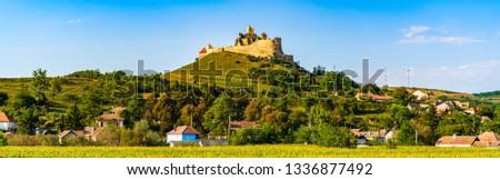 vieux · médiévale · forteresse · haut · colline · village - photo stock © pixachi