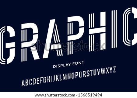 Handmade retro inline outline font. White letters on white backg Stock photo © pashabo