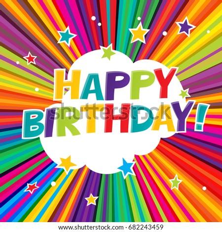 Happy Birthday postcard. Comic colorful alphabet. Comic text. Co Stock photo © pashabo