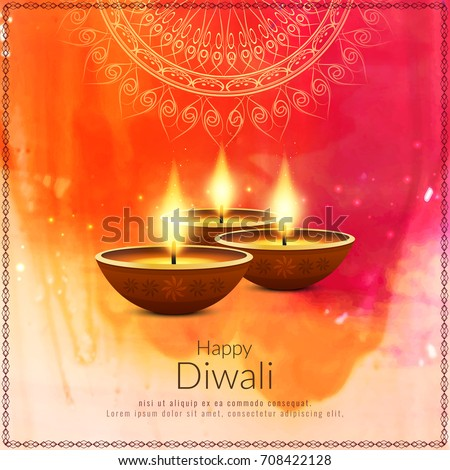 artistic happy diwali festival background with watercolor effect stock photo © sarts
