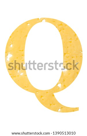 Letter Q cheese font. Symbol of cheesy alphabet. Dairy Food type Stock photo © popaukropa
