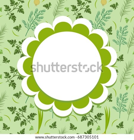 Herbs label, wrapper template for your design. Vegetables frame with space for text. Vector illustra Stock photo © lucia_fox