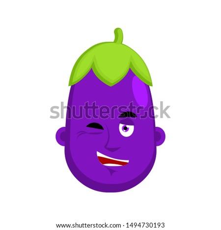 Eggplant winks emotion avatar. Purple Vegetable happy Emoji. Vec Stock photo © popaukropa