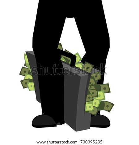 Stock photo: Suitcase of money and legs. To hide bribe. Case cash. Vector ill