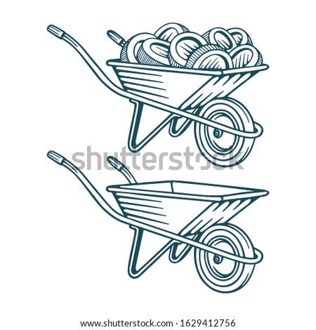 Kruiwagen geld cash tuin vector papier Stockfoto © popaukropa