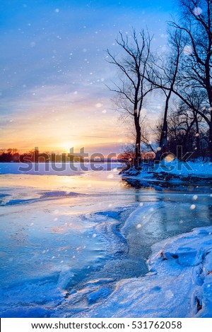 winter landscape panorama; sunset on the bank of a frozen river; Stock photo © Konstanttin