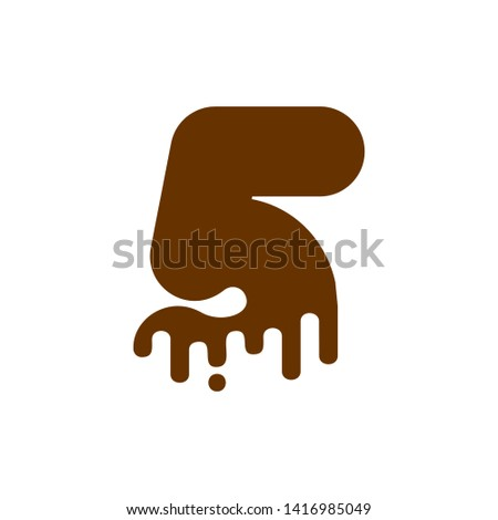 Number 3 Chocolate font. Sweetness numeral five alphabet. Liquid Stock photo © MaryValery