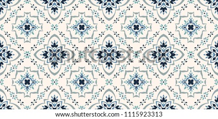 Azulejos tiles pattern - Portuguese floral design, seamless vector black and white background, vinta Stock photo © RedKoala