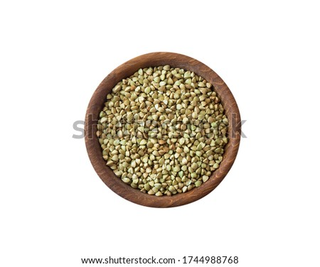 Bowl of Green buckwheat cereal isolated. Healthy food for breakf Stock photo © MaryValery