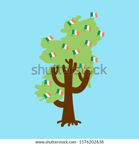 Patriotic tree Ireland map. Irish flag. National political Plant Stock photo © popaukropa