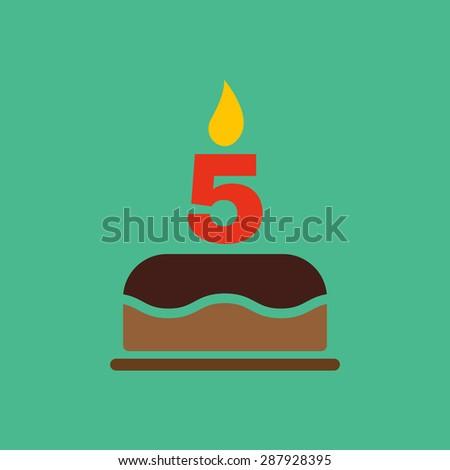 Numer świece urodziny pięć rysunku wakacje Zdjęcia stock © MaryValery
