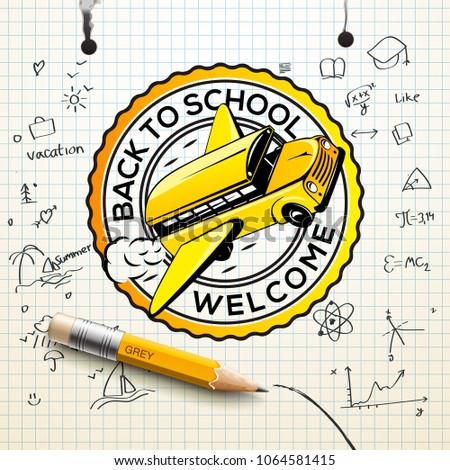 üdvözlet vissza az iskolába logo kockás papír lap Stock fotó © ikopylov