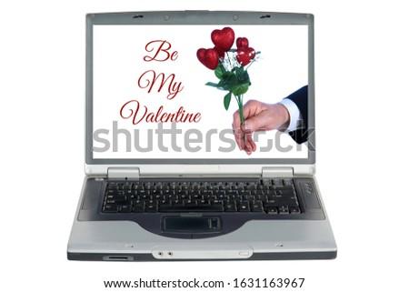 красный компьютер сердце рук изолированный белый Сток-фото © sqback