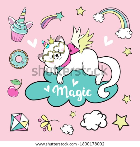 Doodle items collection with unicorns and other fantasy magical  Stock photo © balasoiu