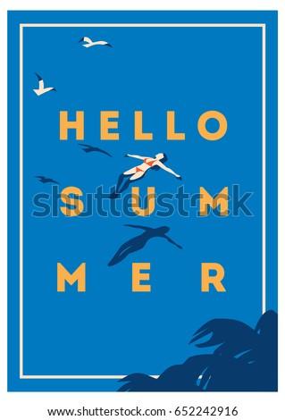 Yaz tatili yaz kampı poster seyahat afiş plaj Stok fotoğraf © ikopylov