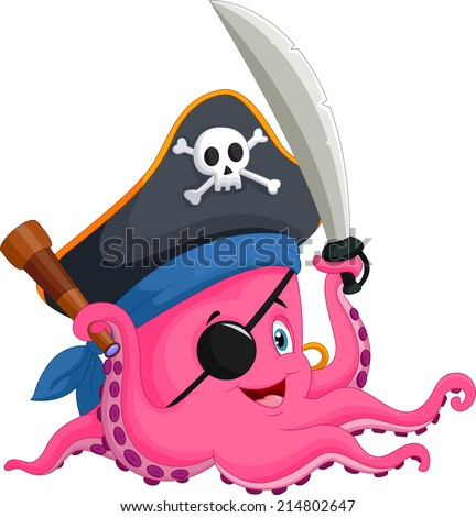 angry pirate octopus cartoon mascot character with a sword gun and hook on a tropical island stock photo © hittoon