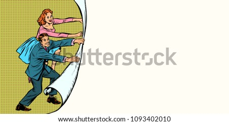 copy space background with man and woman unfolding paper backgro Stock photo © studiostoks