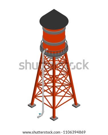 Wody wieża izometryczny odizolowany wektora budowy Zdjęcia stock © popaukropa