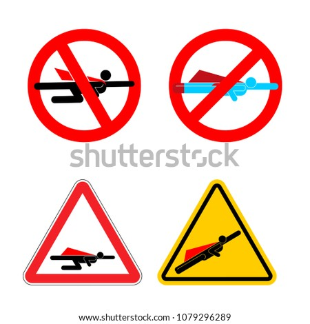 Attention super hero set. Stop and Forbidden superhero. Road sig Stock photo © popaukropa