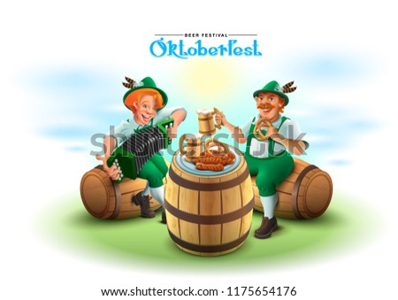 Oktoberfest piwa festiwalu dwa człowiek siedzieć Zdjęcia stock © orensila