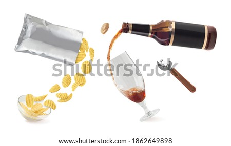 Glass and bottle of craft lager beer with potato crisps snack in Stock photo © DenisMArt