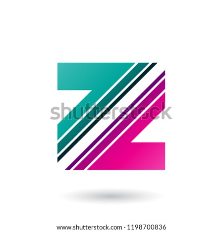 Stock photo: Magenta and Green Letter Z with Diagonal Stripes Vector Illustra