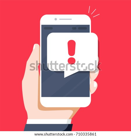 Mobile phone and text message with exclamation point hand drawn outline doodle icon. Stock photo © RAStudio