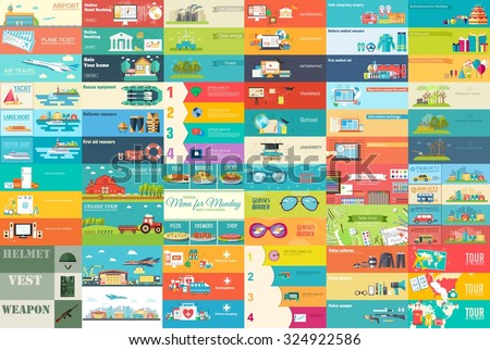 Flat collection set icons of business, social, eco, bank, farm, fashion, tool, medicine, travel, can Stock photo © Linetale