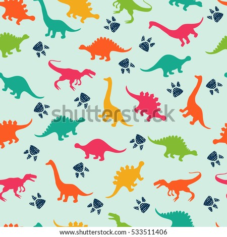 Stock photo: Color cute dinosaurs seamless background. Repeating pattern of T
