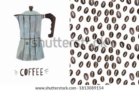 The pattern of coffee beans and a metal coffee maker on a gray background with space for text. Conce Stock photo © artjazz