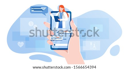 On line medical consultation. Emergency help service. Doctor on call. Flat vector illustration Stock photo © makyzz