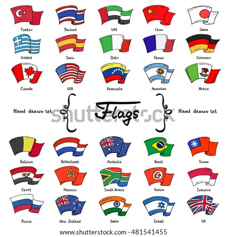 Dibujado a mano bandera Australia aislado blanco vector Foto stock © garumna