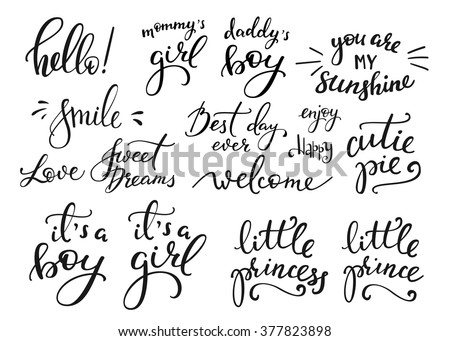 Set of calligraphy card with Congratulations and Family is forever lettering. Hand written text. Han Stock photo © kollibri