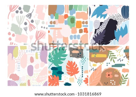vector seamless pattern abstract hand drawn flowers with different textures floral composition fr stock photo © user_10144511