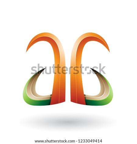 Orange Green and Beige 3d Dynamic Flying Letter A Vector Illustr Stock photo © cidepix