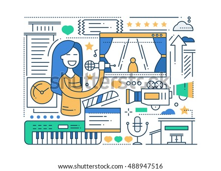 Industrial building - modern line design style vector illustration Stock photo © Decorwithme