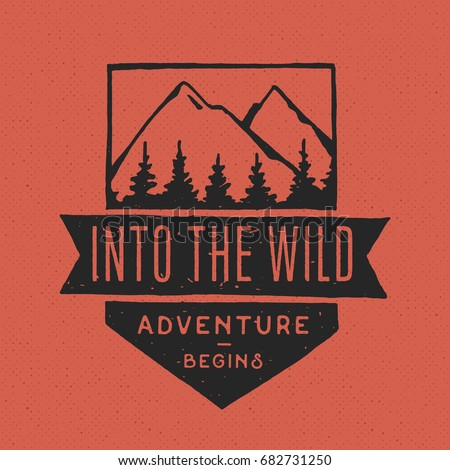 Vintage hand drawn adventure themed retro badge. Logo is perfect for T-Shirts, mugs, prints, brandin Stock photo © JeksonGraphics