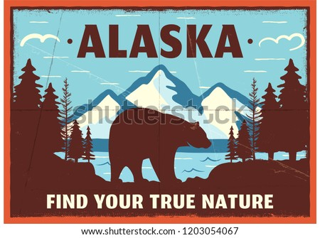 Alaska poster design. Mountain adventure patch. American travel logo. Cute retro style label, brochu Stock photo © JeksonGraphics