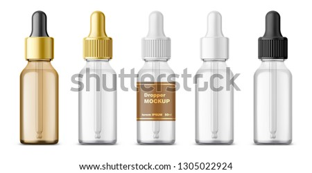Cosmetic Glass Product Vector. Perfume, Essence. Oil, Water, Perfume. Bottle. Jar. 3D Isolated Trans Stock photo © pikepicture